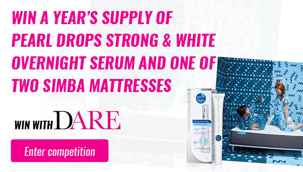 Say hello to your perfect duo for a perfect night's sleep. This is your chance to get a year's supply of Pearl Drops Strong & White Overnight Serum working its magic, strengthening, brightening and repairing your pearly whites while you dream sweetly in the luxurious, cloud-like comfort of a Simba mattress.